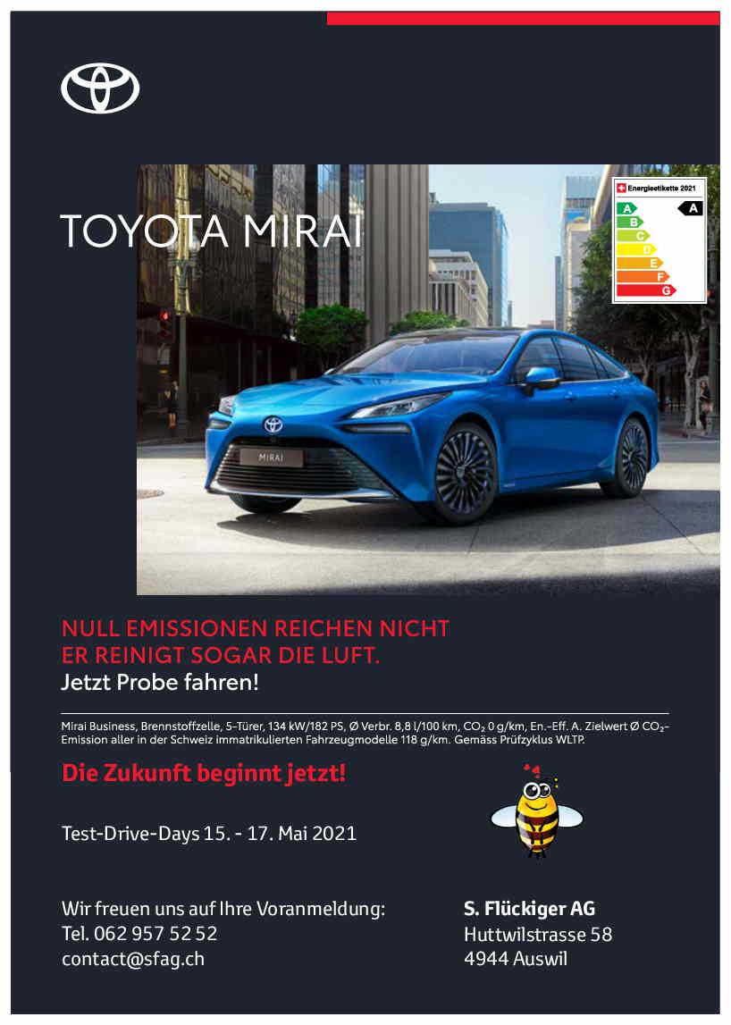 flückiger Autohaus - TOYOTA MIRAI Test-Drive-Days 15. - 17. Mai 2021