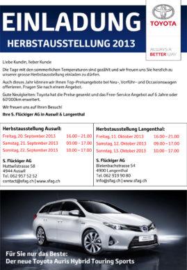 flückiger Autohaus - EINLADUNG HERBSTAUSSTELLUNG 2013